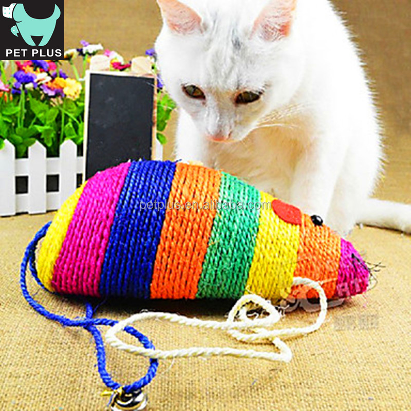 Colorful Mouse Shape Sisal Cat Rope Climbing Toy Chewing Toys