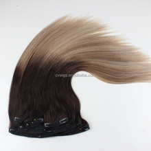 New Arrival 7A virgin brazilian ombre remy clip in hair extension