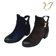 2017 China wholesale fashion low heel women's buckle ankle boots