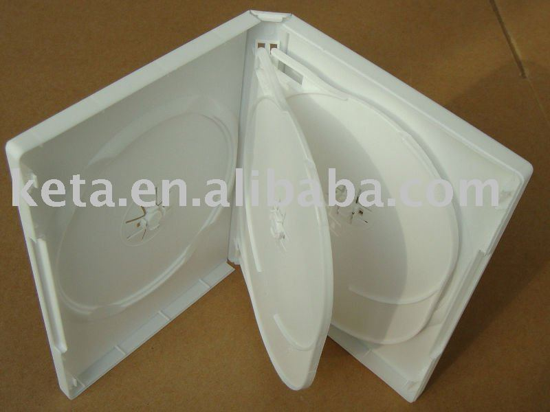 22mm Thick Multiple 6 discs Plastic Case White DVD Box