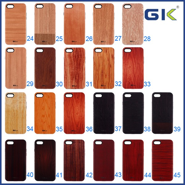 [GGIT] 3D Embossed Pattern Wood Grain 2 in 1 Combo Case For IPhone 7 Celulares