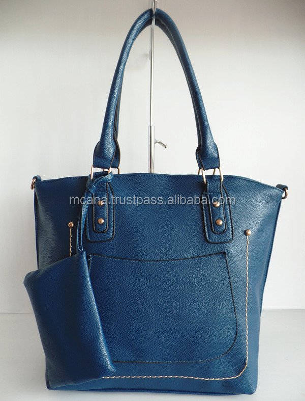 blue matte china bag pocket bag in front side and pocket broadside