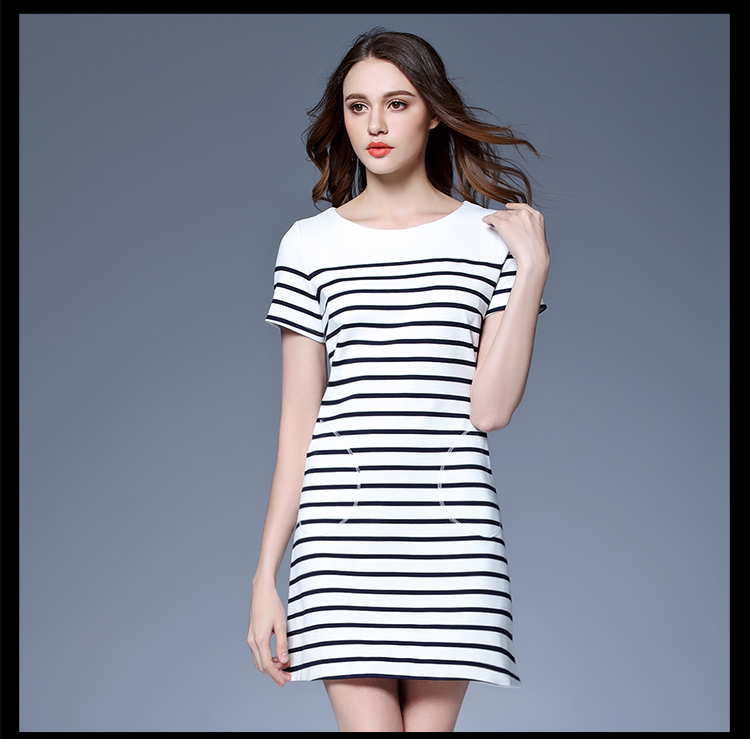 Cotton blue and white black and white stripe flock for girls summer casual dress front pocket style