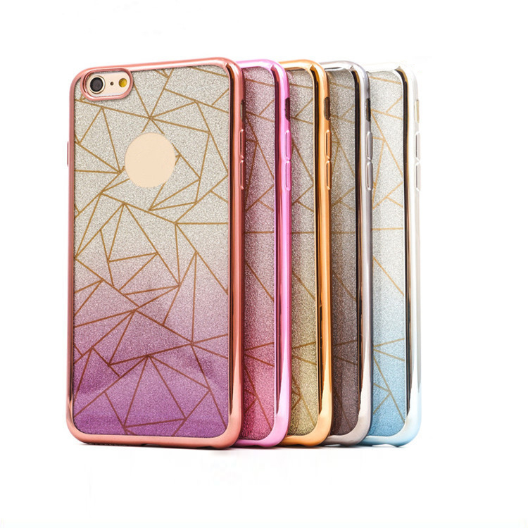 2 in 1electroplating TPU phone case with glitter film for iphone 5 5S 6 6S 6 plus back cover