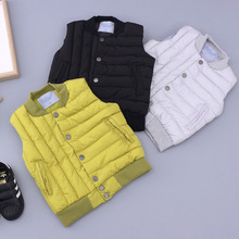 2016 New Hot fashion winter boys cotton solid color dark button vests pick size