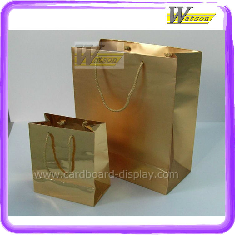 Luxury paper bag with non woven gold color