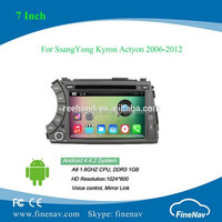 2 din A9 dual core Android 4.4 Car DVD Audio Video Player for SsangYong Kyron Actyon 2006-2012 with bluetooh radio GPS free map