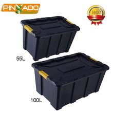 Hard Safety Plastic Case Tools Storage Box,55L Heavy Duty Storage Box With Clips