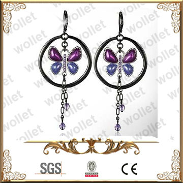 Purple Blue Crystal Dangle Stainless Steel Butterfly Shaped Earring