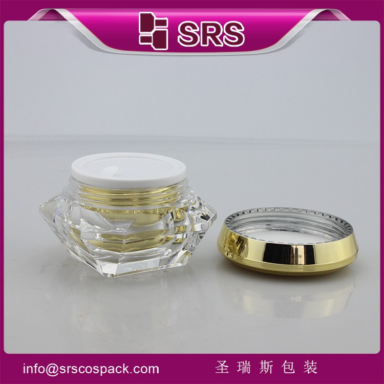 SRS free sample acrylic gold color 30ml cream jar cosmetic