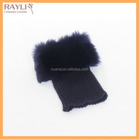 Hot selling women girls knitted navy blue leg warmers fluffy fur boot cuffs topper