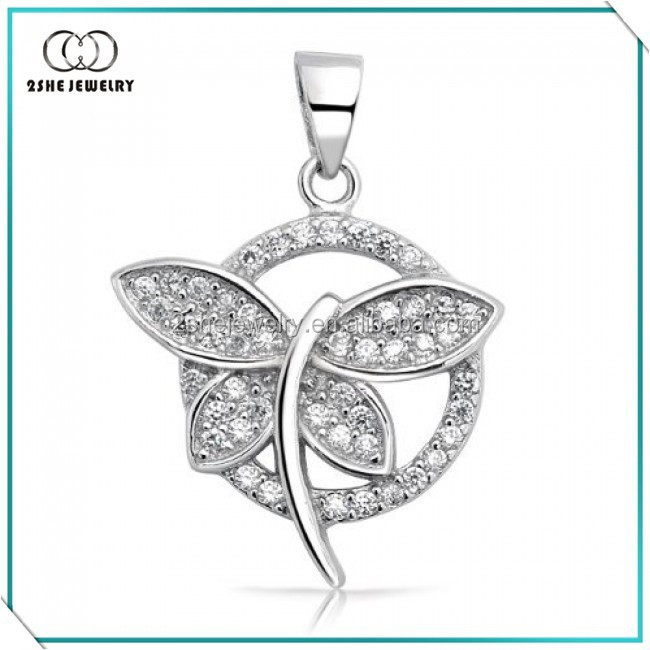 2SHE cz pave mini circle 925 sterling silver dragonfly pendant
