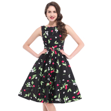 BP Stock Sleeveless 10 Patterns Cotton Retro Style Cherry Printed Vintage Dress BP000002-8