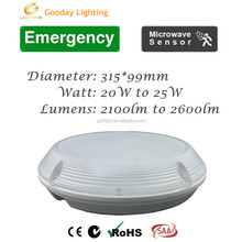 2D Bulkhead Wall Ceiling Light 3hrs Maintained Emergency 25W LED Fitting IP65