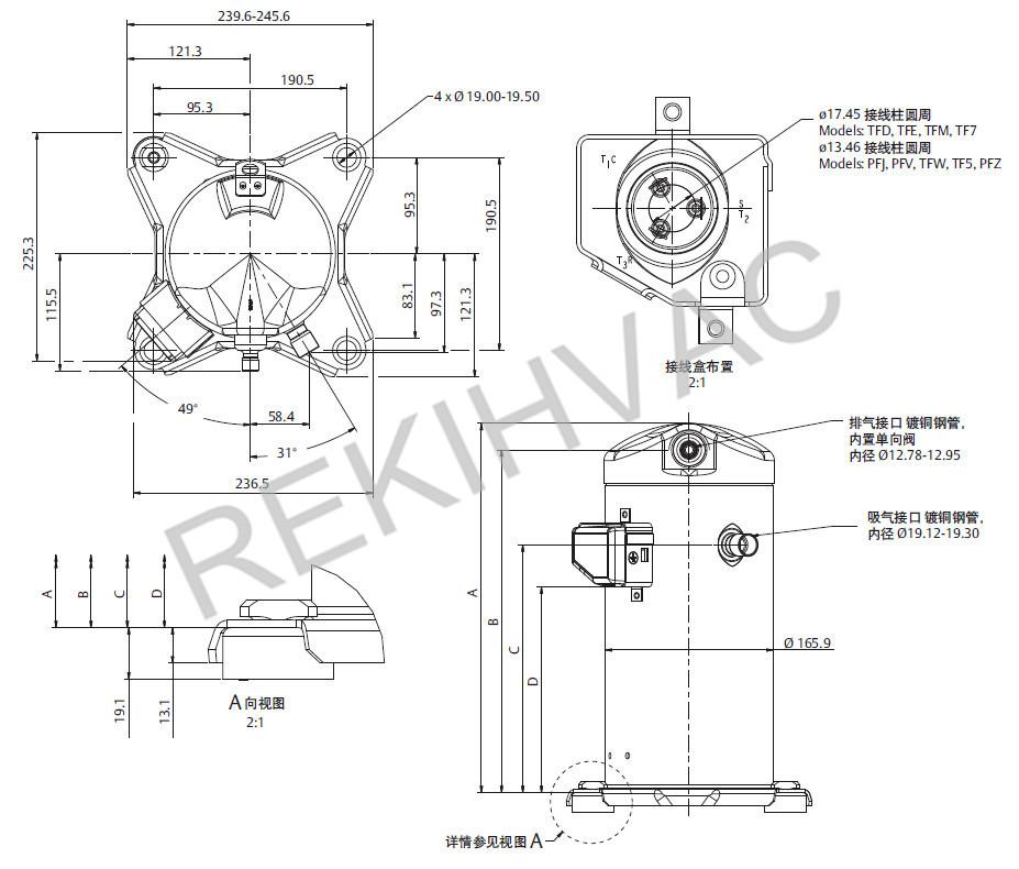 220v 50hz 2 5hp compressor copelametic models zb19kq