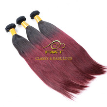 FMT Premium Quality Human Hair 1B 99J Colored Two Toned Weave 100% Brazilian Human Virgin Hair