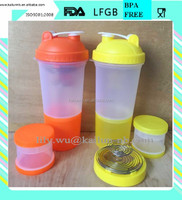 Customized 3 in 1 shaker bottle with container and pill box