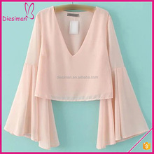 Pink Bell Sleeve Fashion Chiffon Blouse European Fashion Sexy Deep V neck Blouses for Women