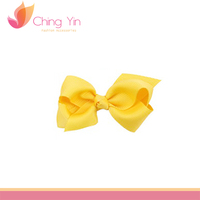 Various patterns and printed bright yellow ribbon bow wholesale hair accessories