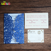 INC069--- Hot sale navy blue pearl color laser cut wedding invitation models