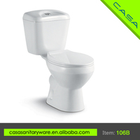 Simple design two piece OEM white ceramic hotel mobile toilet