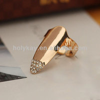 2014 wholesale fingernail shaped ring jewelry, fingertip muti crystal ring, gold plating two color