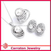 Big Fashion Pearl Jewelry Set Silver 925 With CZ And Fresh Water Pearl