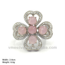RXH-1009 hot sell jewelry 925 Silver Flower Ring with cz stones and opal HongKong Jewellery & Gem Fair Pink Gemstone