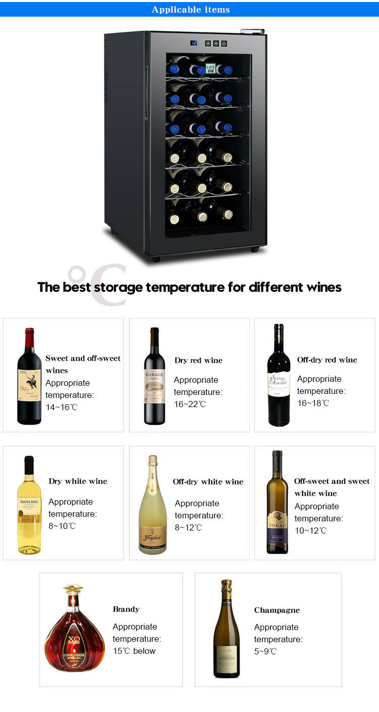 LVNI built in 18 bottles glass door display corner wood thermoelectric electronic wine fridge cellar cooler chiller refrigerator