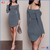 Wholesale Clothing Fashion Woman Ribbed Dress Latest Dress Designs Photos With Off Shoulder Women Bodycon Mini Dress