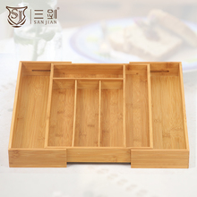 100% Eco Friendly Adjustable Bamboo Kitchen Utensil & Cutlery Tray