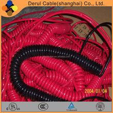 Multi core PUR oil resistant spring coiled cable