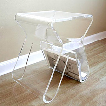 Custom Clear Acrylic Side Table Lucite Coffee Table With Magazine Rack