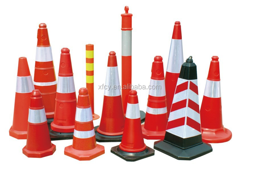 Red color Rubber safety Traffic Cone(ISO Approved)