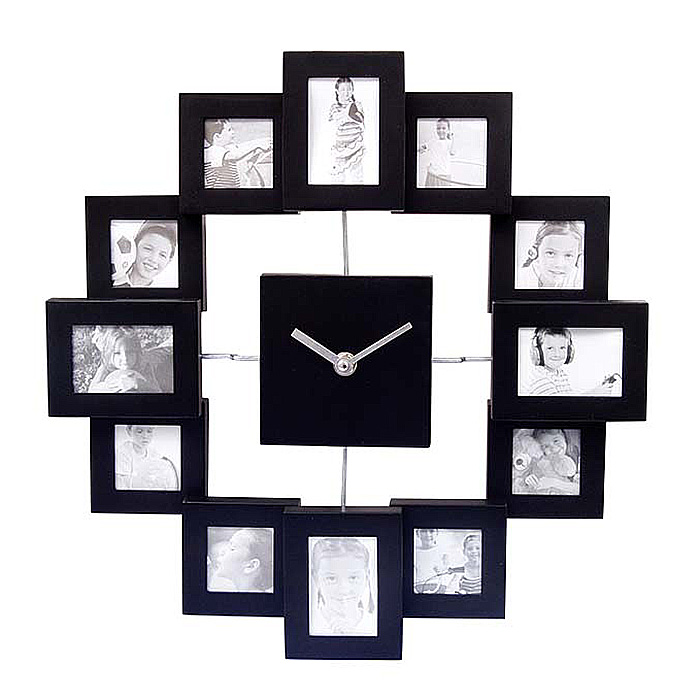 Black 12 Picture Photo Frame Wall Clock- Stylish Modern Family Picture Frame and Time Piece
