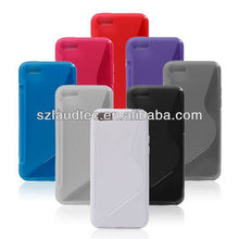 S line Wave Curve Soft TPU Gel Cover Case for iPhone 5C