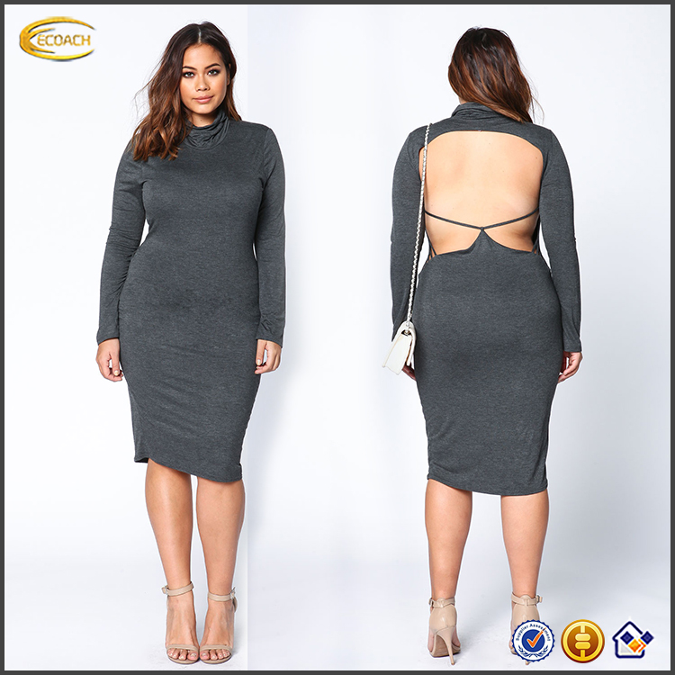 Sexy Charcoal Strappy Back Cut Out Midi Dress With Long Sleeve And High Neckline Form-Hugging Fit Dress Designs Fat Ladies