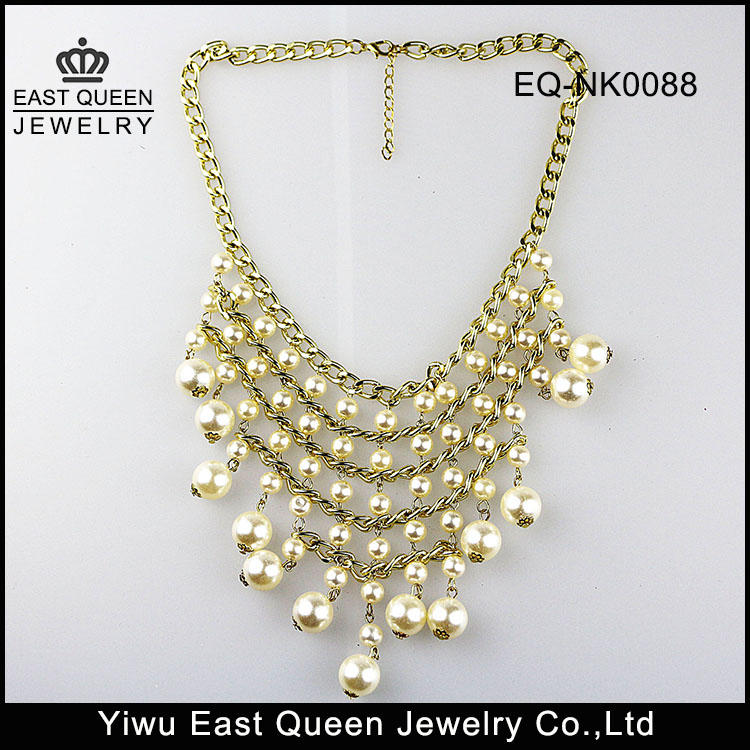 Fashion White Beads Chunky Statement Necklace For Promotion