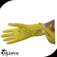 SRSAFETY yellow long rubber household latex glove