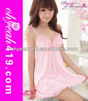 Hot sale paypal accept charming girl sexy babydoll lingeriesex nightdress,sexy pink satin pajamas,pink mature lingerie sexy baby