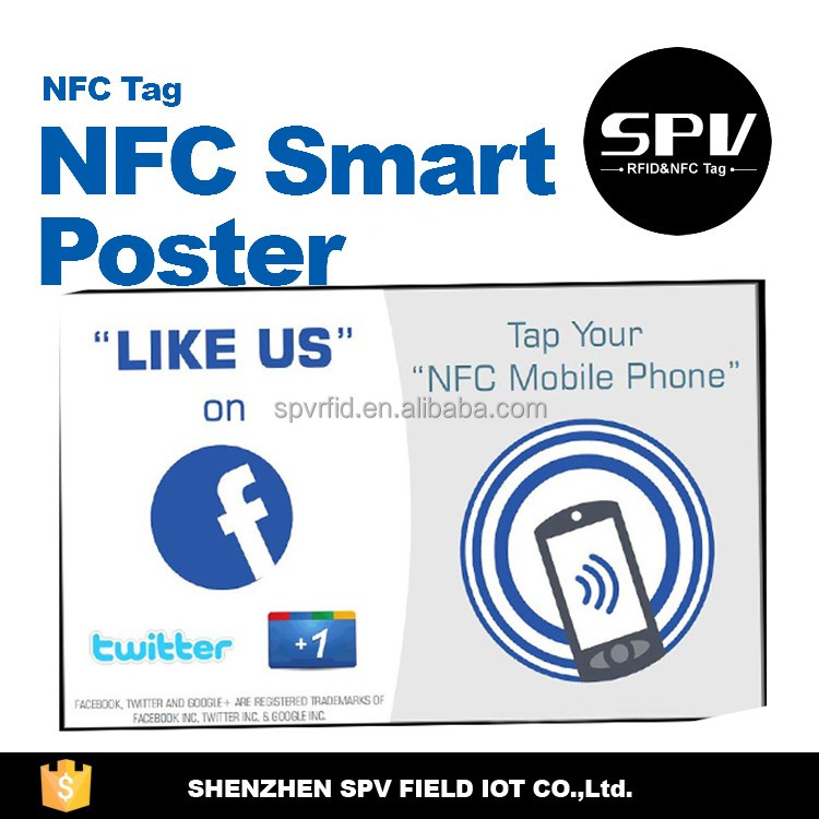 Customized Design NTAG203 ISO14443A 13.56MHz NFC Coated Paper/PET/CPC Poster for Data Transfer/E-pay/Tickets