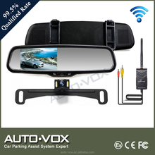 2.4g wireless car rearview lcd monitor with backup license plate camera