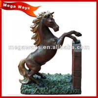 custom lifelike resin black horse craft for home decoration