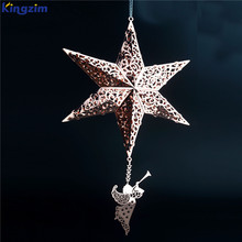 china custom design hollow gold metal star christmas tree topper