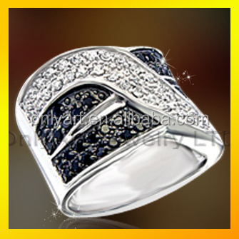 superb OAR0174 zircon wide band fashion jewellery design 925 sterling silver ring