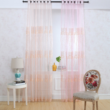 100% polyester sheer fabric flower embroidered curtain drapery sheer voile panel drapes