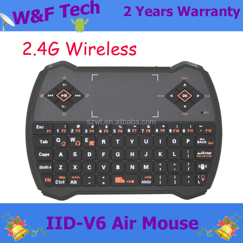V6 Mini 2.4G Wireless Keyboard Touchpad Fly Air Mouse for PC Andriod TV Box