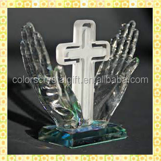 Antique Hands Crystal Christen Trophy For Baptism Souvenirs