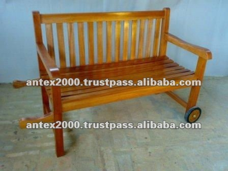 Teak Bench with Wheel for Outdoor Furniture
