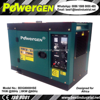 New design!!! POWERGEN 220V 50Hz Single Phase Silent Enclosure Type Diesel Generator 7KW for Hot Working Area
